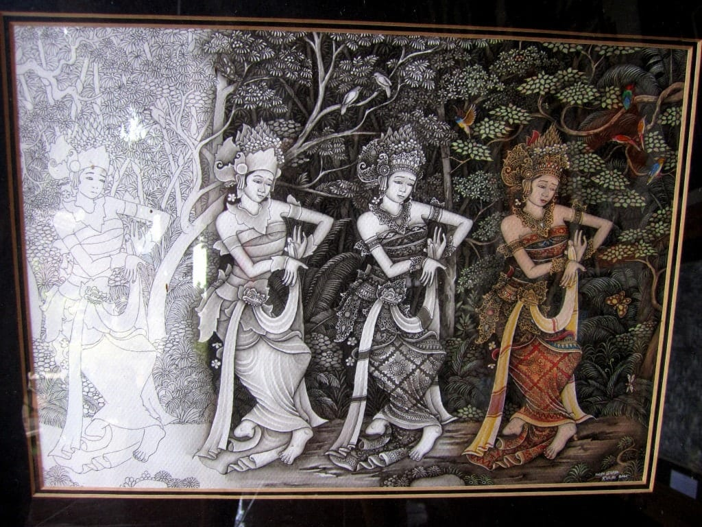 A painting of a Balinese woman -- the first is an outline, then a deeper outline, then a fully shaded drawing, then the drawing colored in.