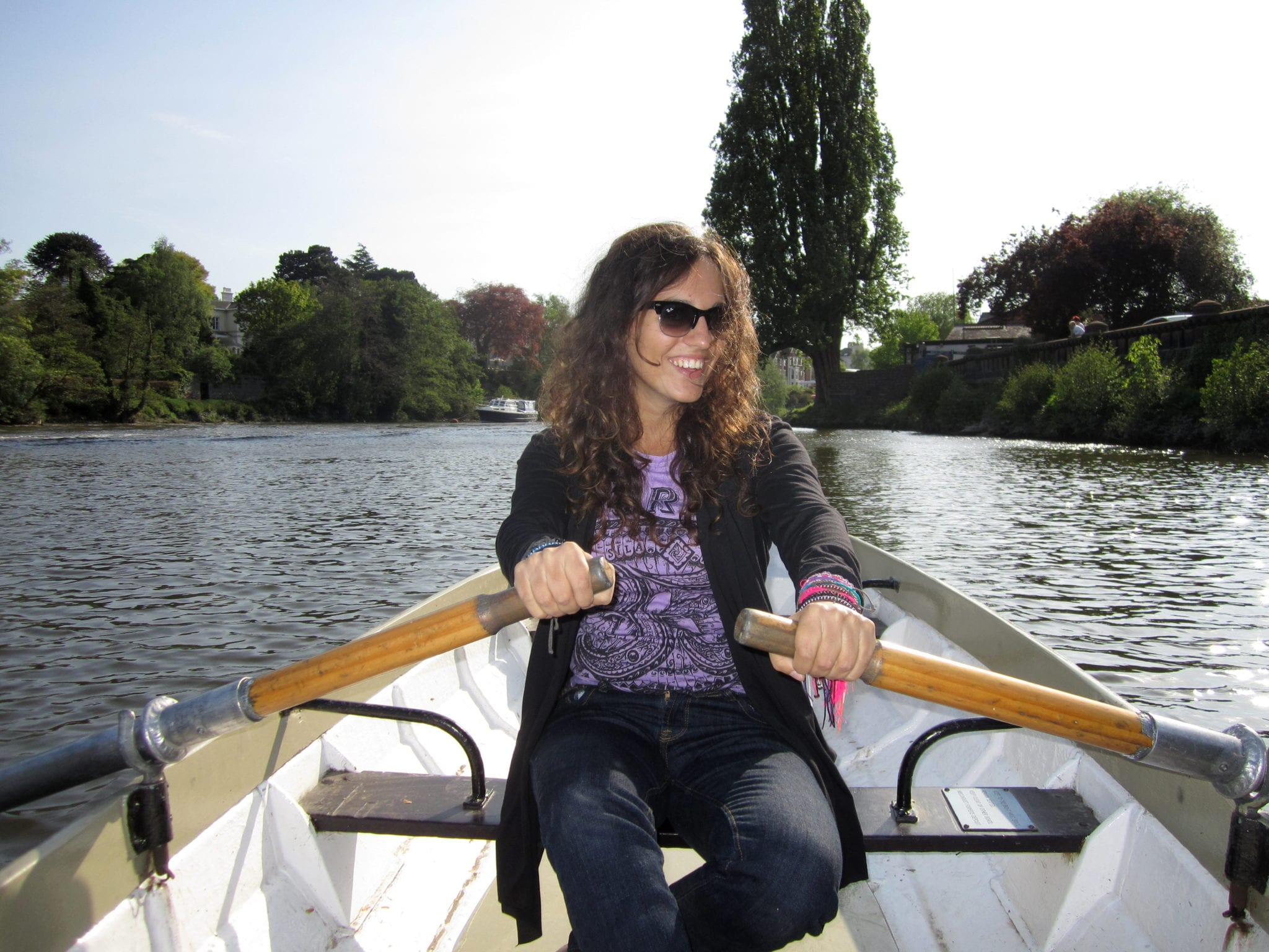 Kate Rowing Down the River