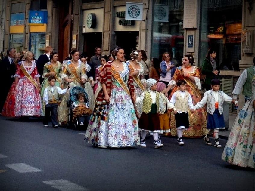 Traditional Valencian Costumes And Rituals At Las Fallas
