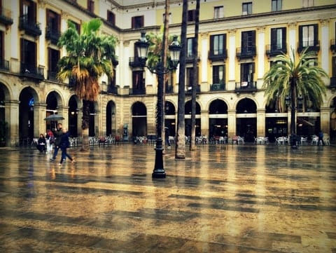 Barcelona Plaza in the Rain