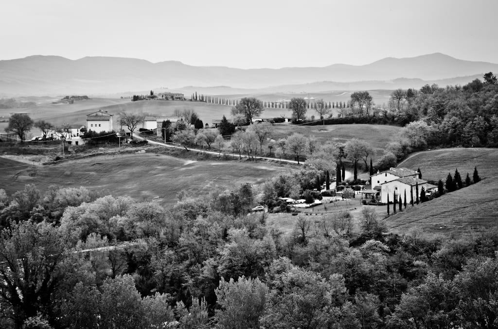 Val d'Orcia, black and white