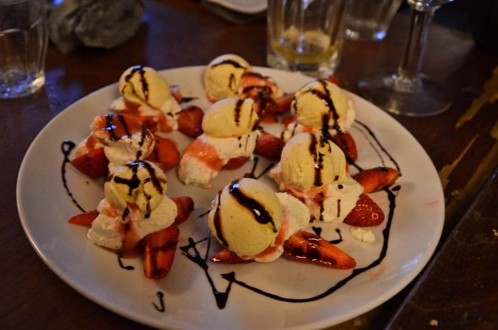 Macerated strawberries with balsamic and lime cream