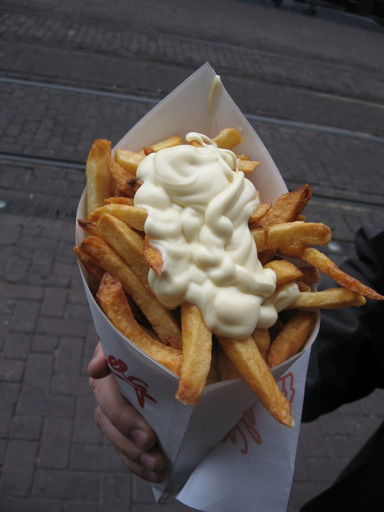 cone full o' fries with mayo, Amsterdam style