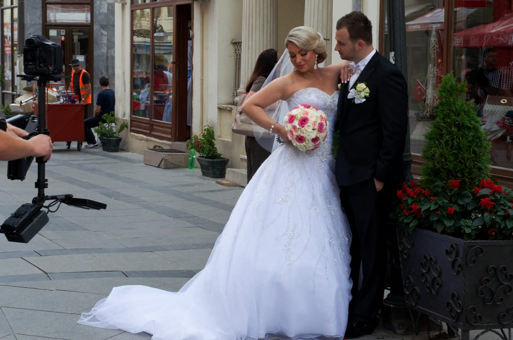Bride and groom in Bitola, Macedonia