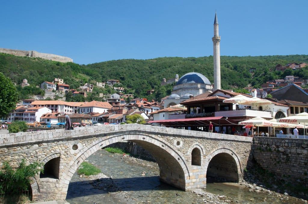 Prizren's bridge and mosque in Kosovo