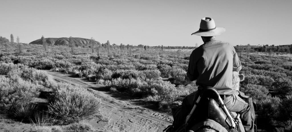 Uluru Camel Ride Black and White