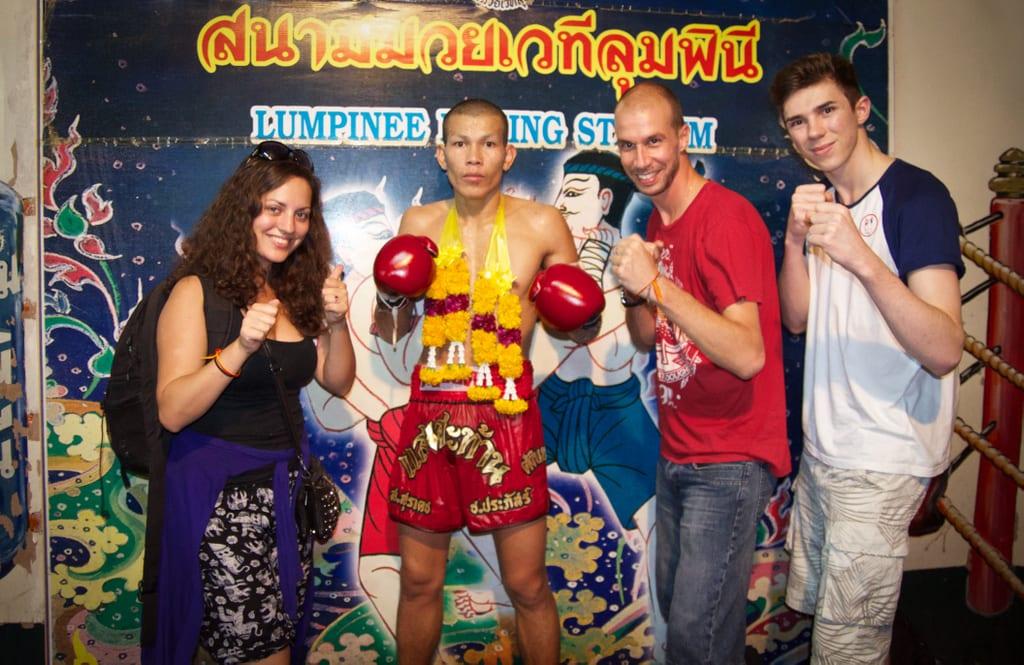 Kate, Mario, and Isaac at Muay Thai