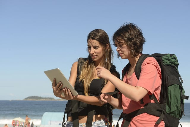 Young female backpackers