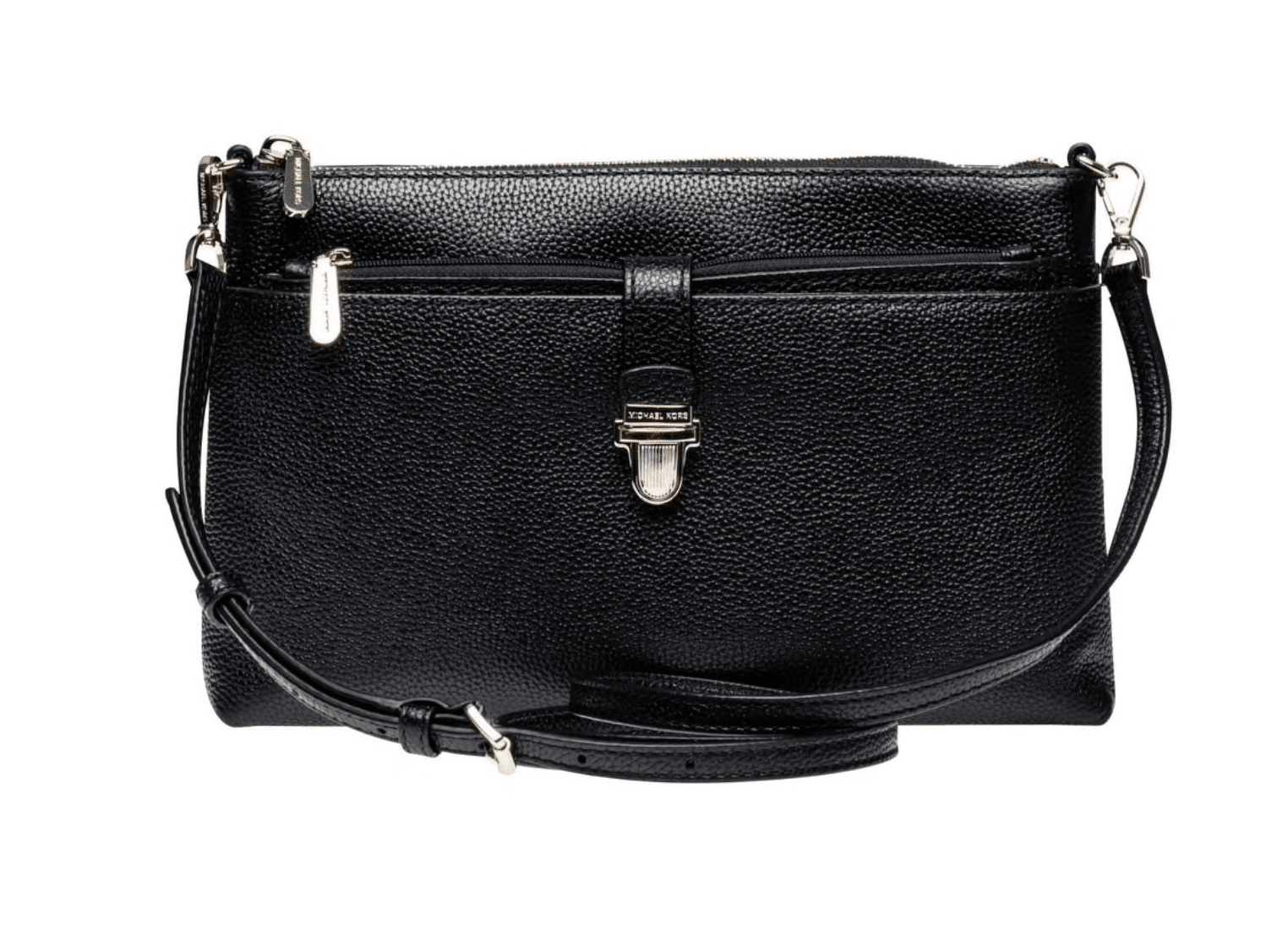 43aa46dd5885 This Michael Kors black crossbody handbag is serious enough for a business  trip and fun enough for a night out.