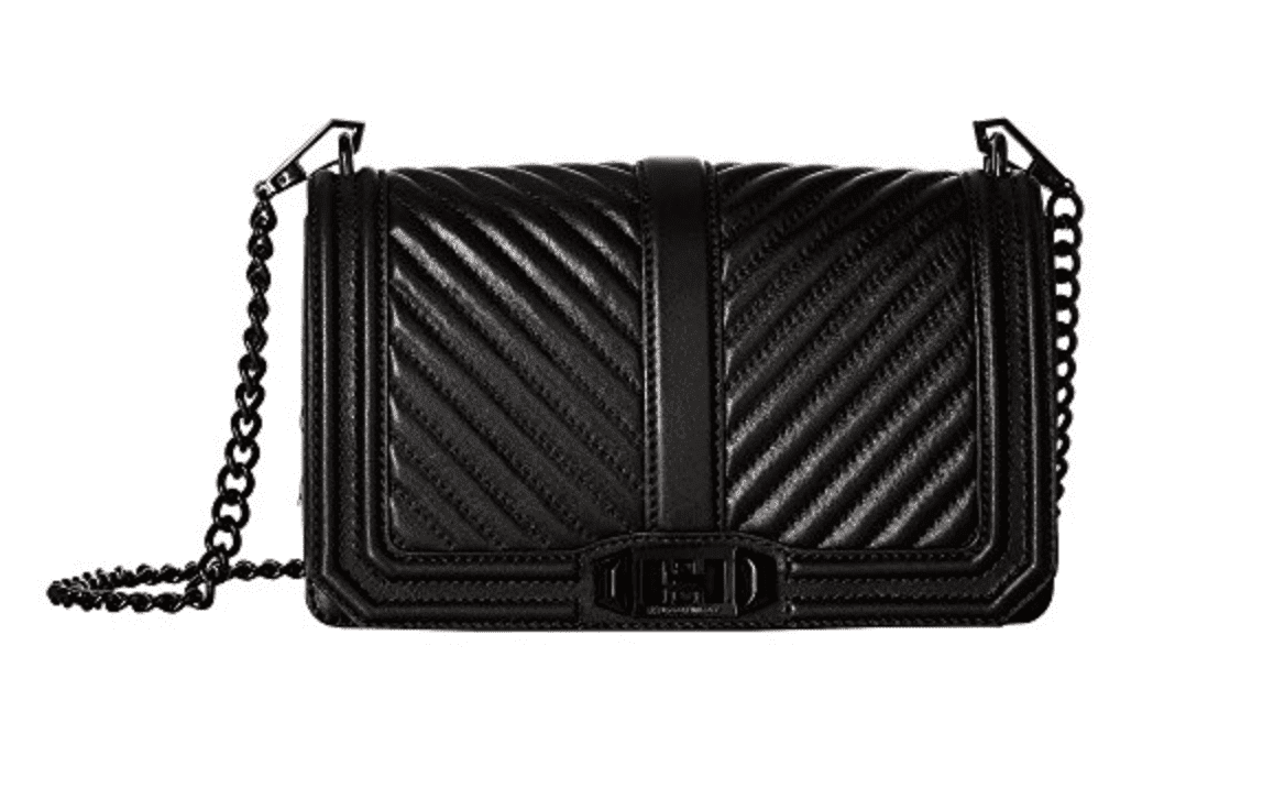 69d24f9350e709 One of my absolute favorite handbag designers is Rebecca Minkoff — I'm in  love with this black chevron cross body purse.