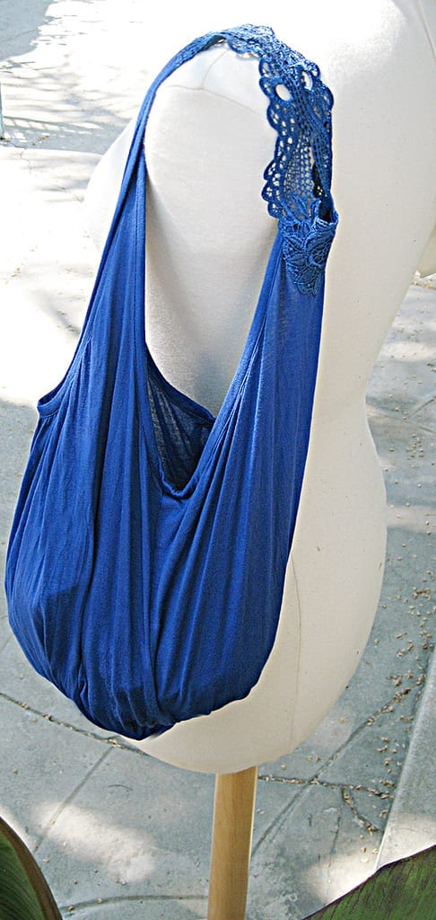 blue beach bag made out of a tank top