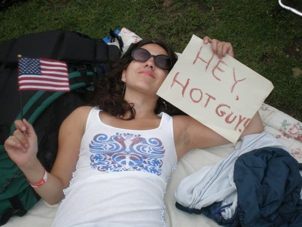 Kate with Hey Hot Guy! sign