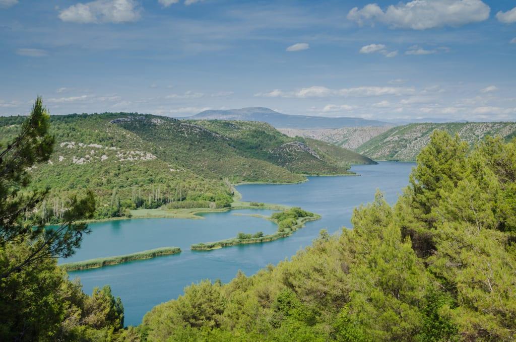 Views of the still lake at Krka National Park, Croatia