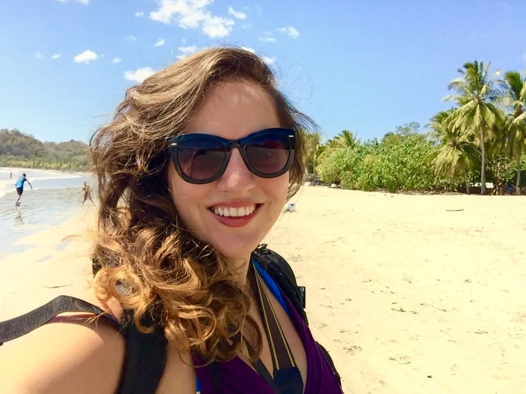 Kate on the beach in Samara, Costa Rica