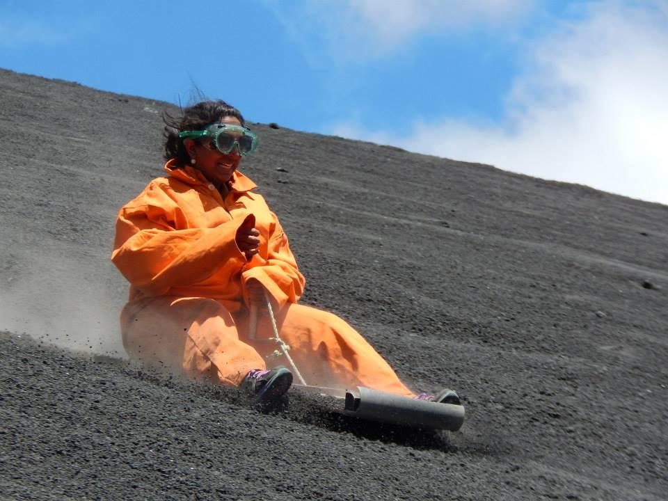Maya volcano boarding