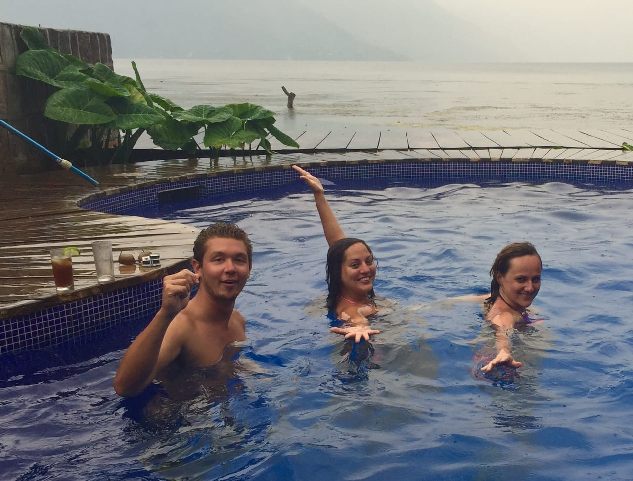 Leif, Kate, and Bianka in Pool
