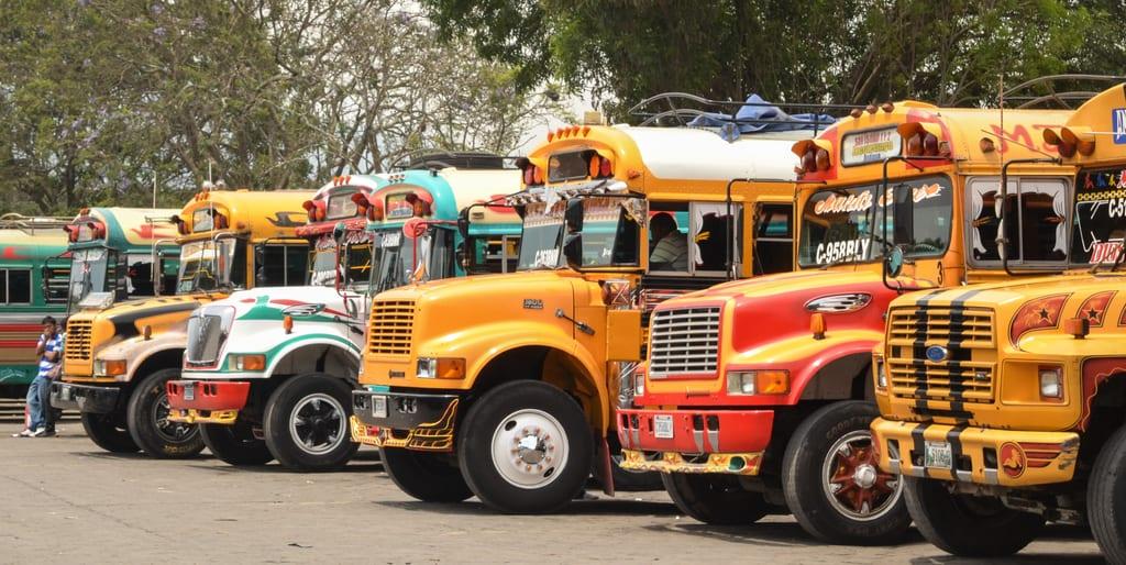 Chicken Buses Antigua Guatemala