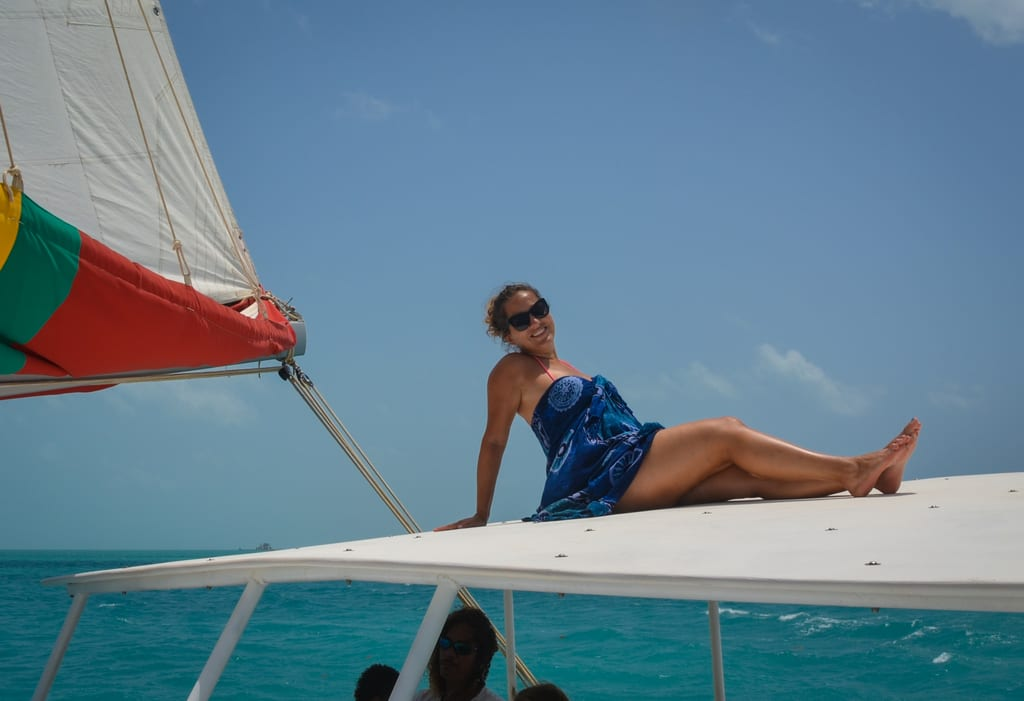 Kate sailing Belize
