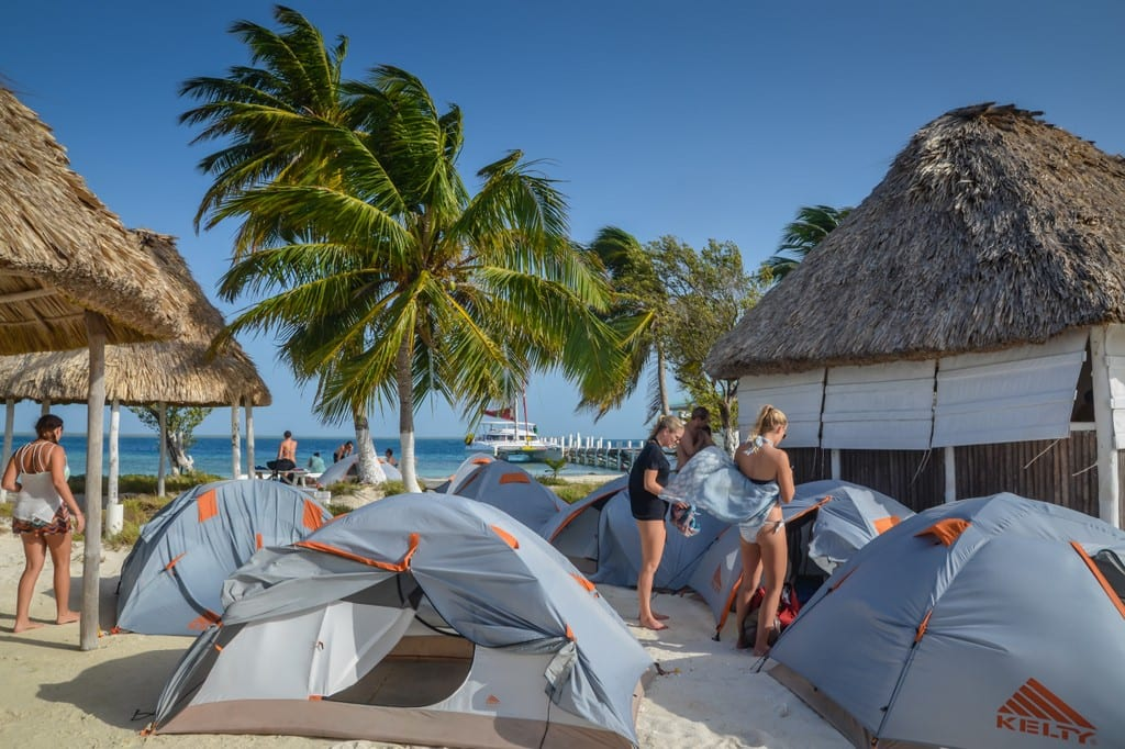 Tents on the beach, camping in Belize