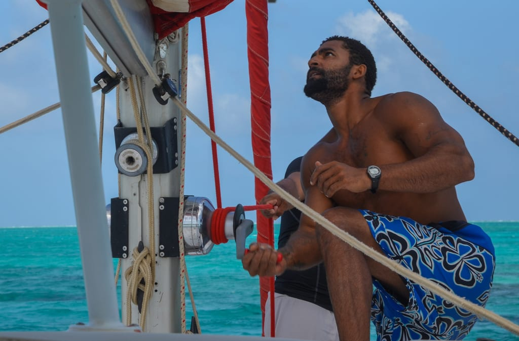 Chris sailing Belize