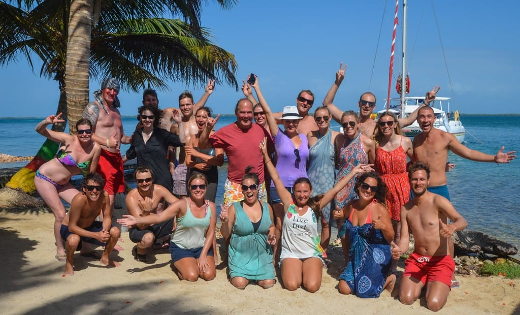 Friends on the beach in Belize