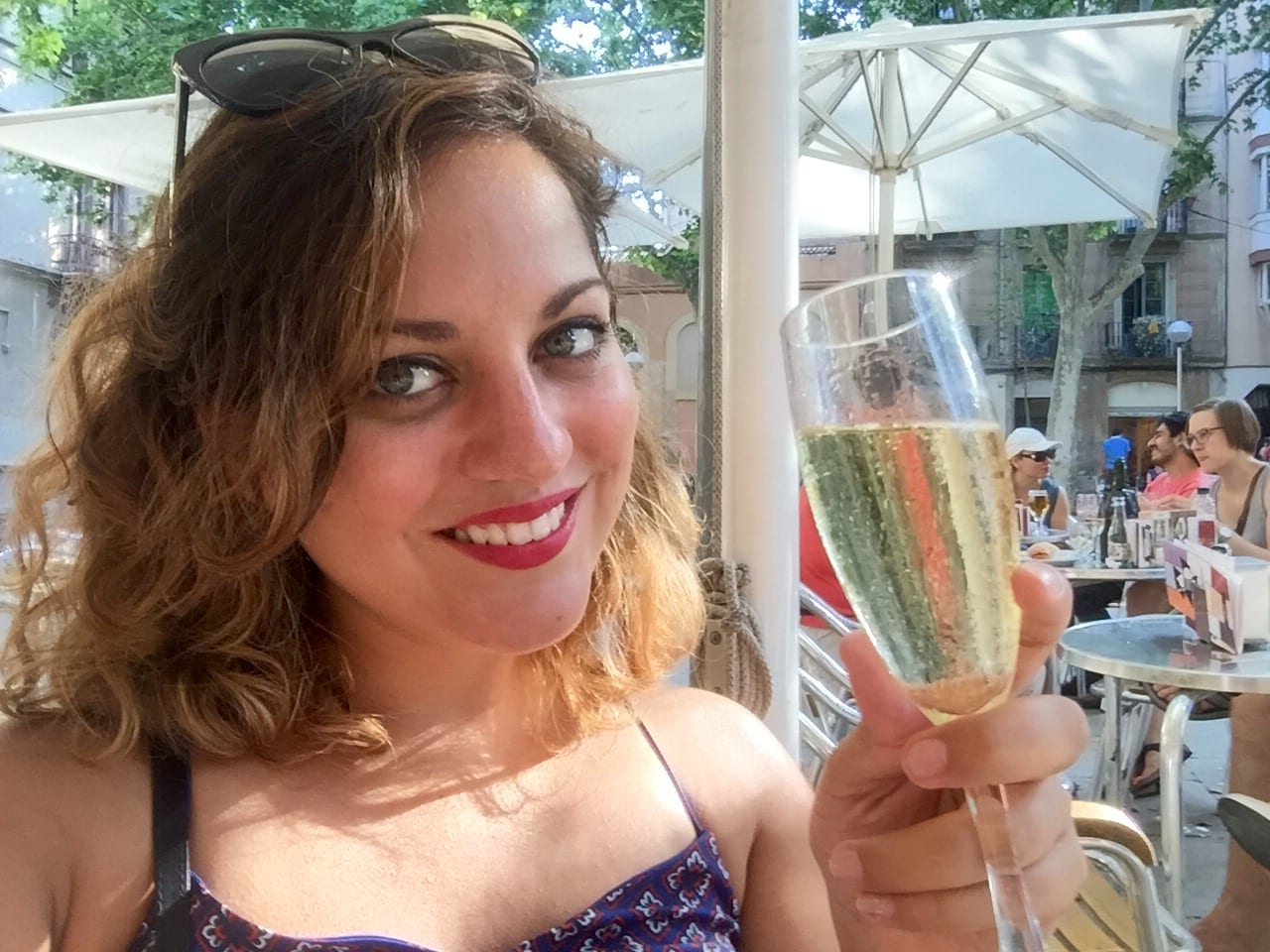 Kate with Cava in Spain