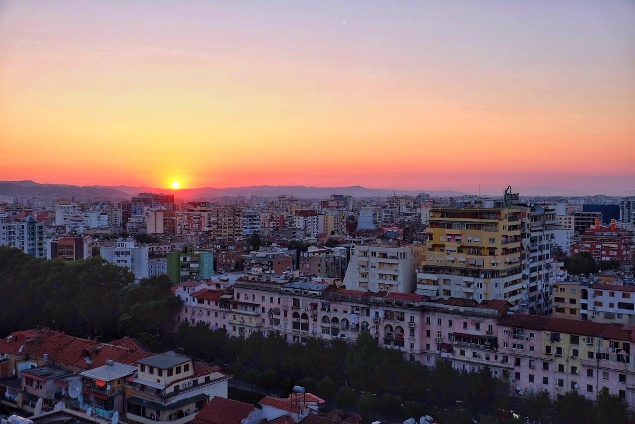Sunset in Tirana, Albania