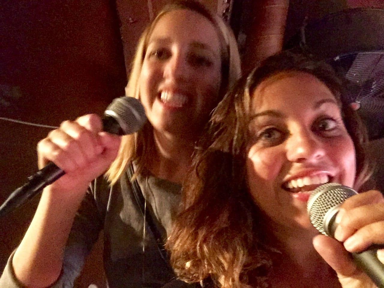 Sarah and Kate at Karaoke in Riga