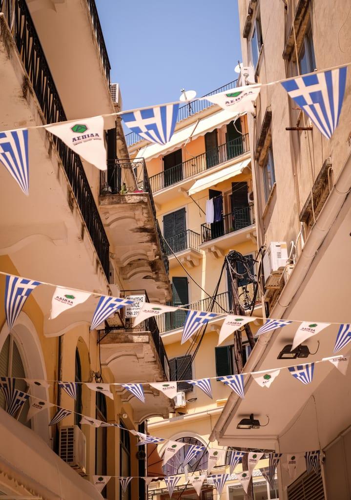 Greek Flags in Corfu, Greece