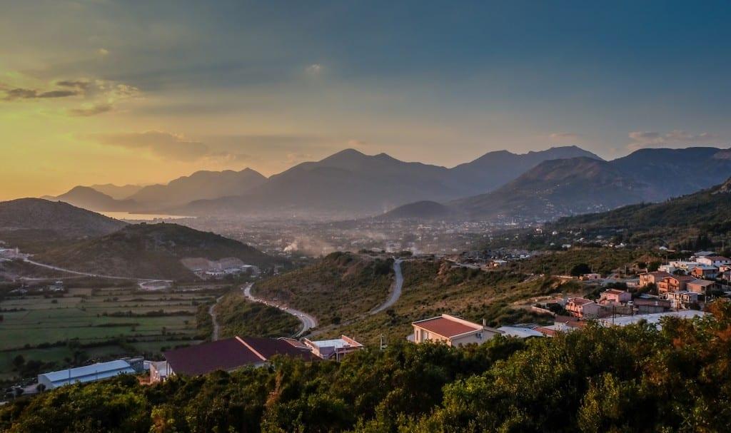 Montenegro mountains and seaside at sunset