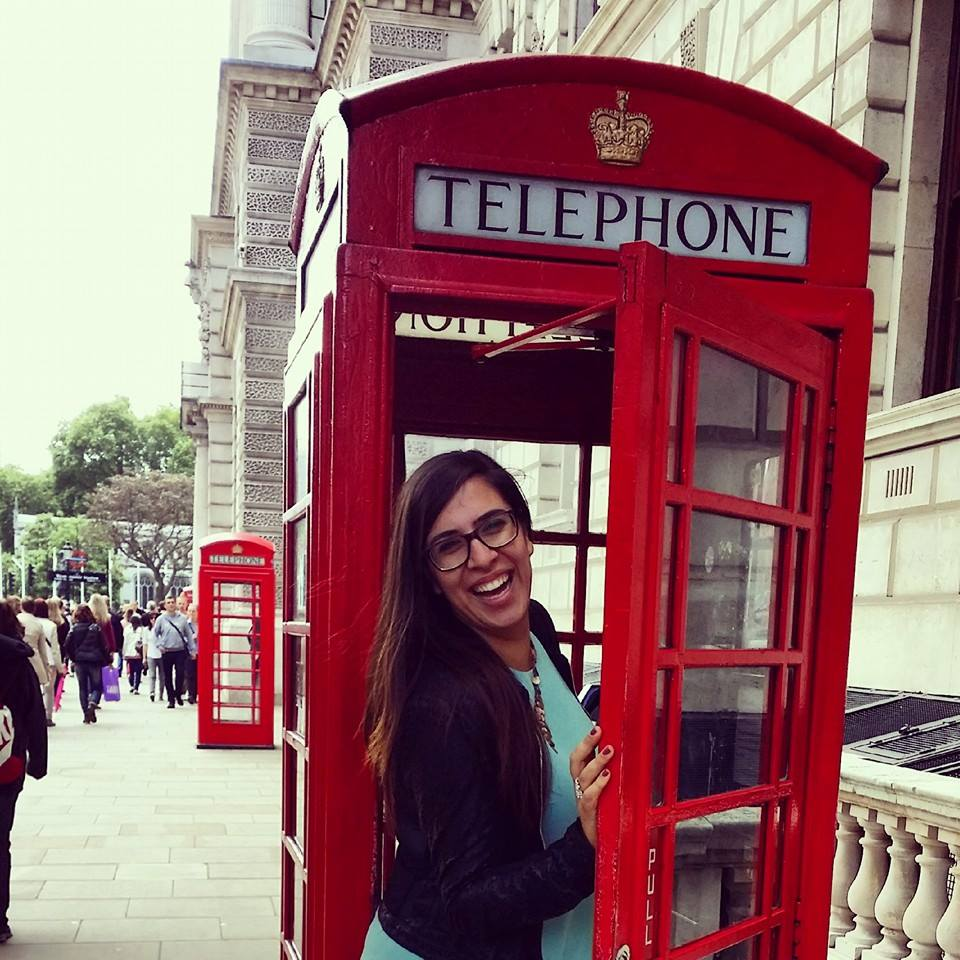 Justine in London Phone Booth