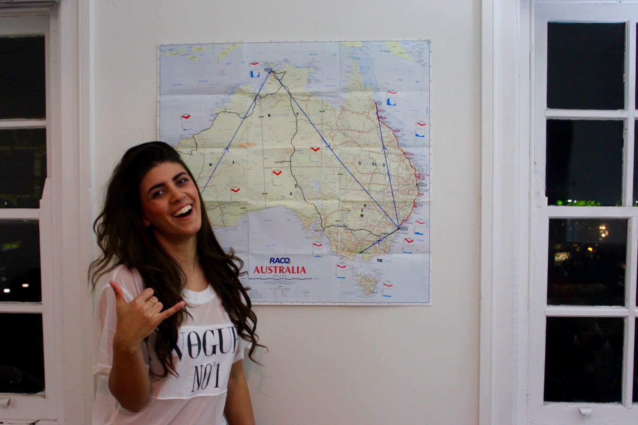 Dilara with Australia Map