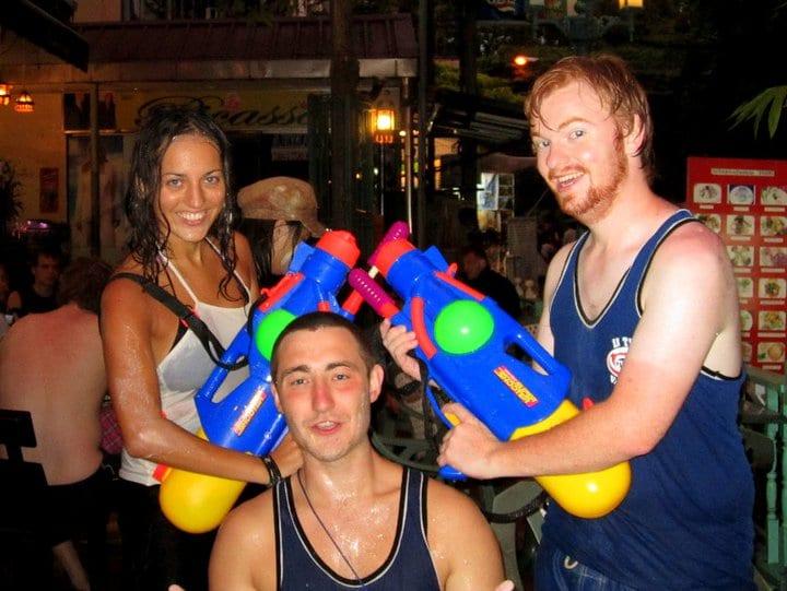 Kate, Ste and Darren in Bangkok for Songkran