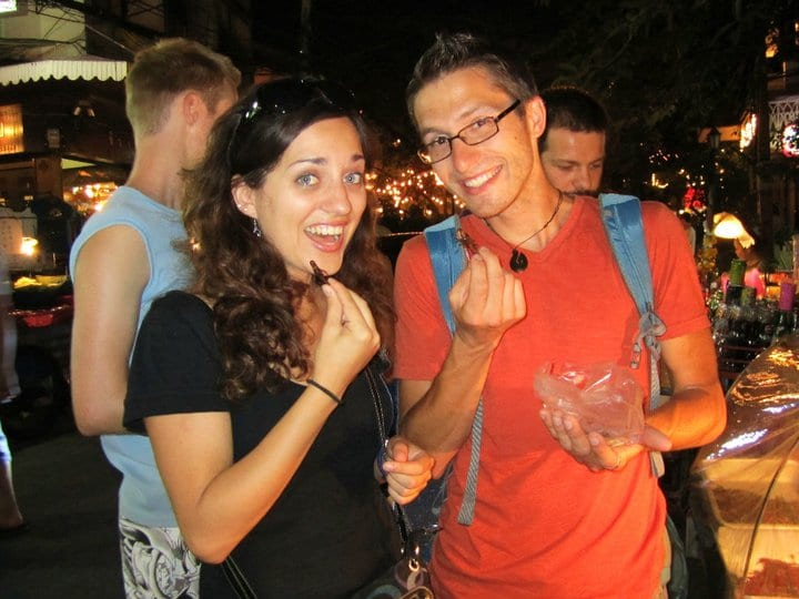 Kate and Matt Eating Insects in Thailand