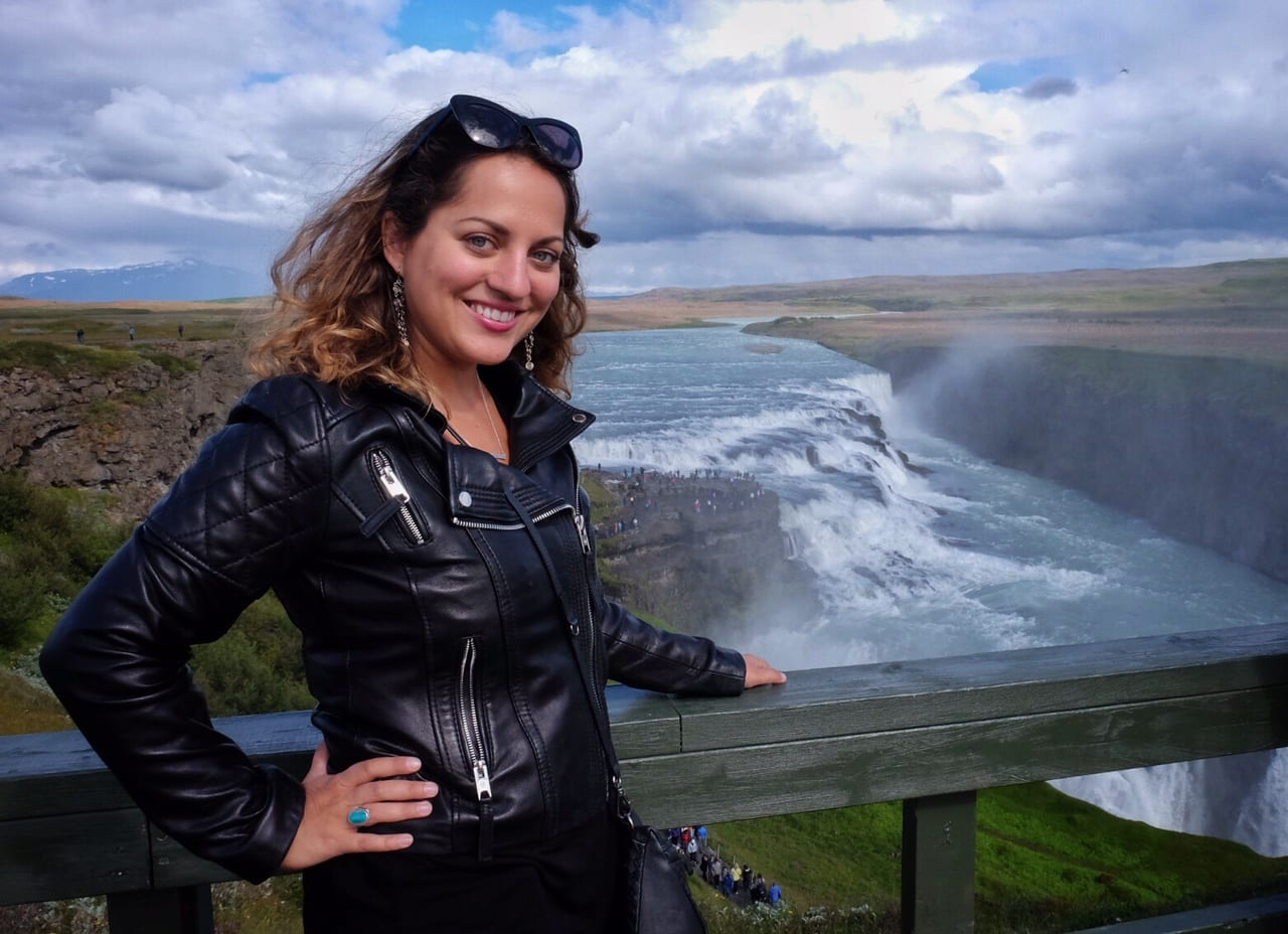 Kate at Gulfoss, Iceland