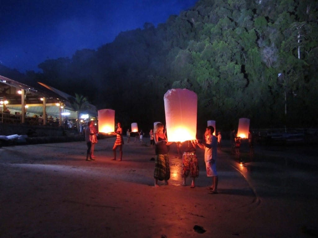 Lanterns on the Beach in Ao Nang, Thailand Movie Set