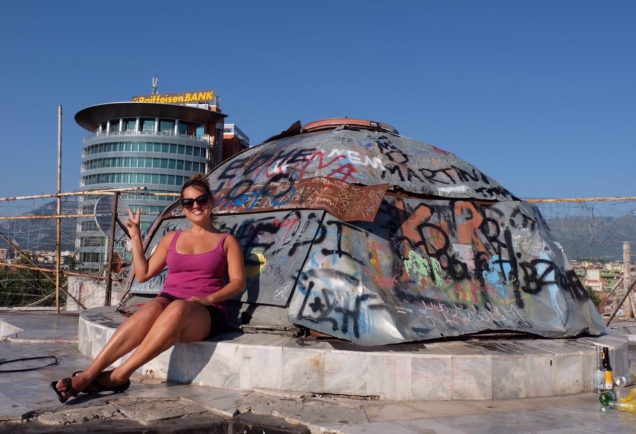 Kate at the Pyramid, Tirana, Albania