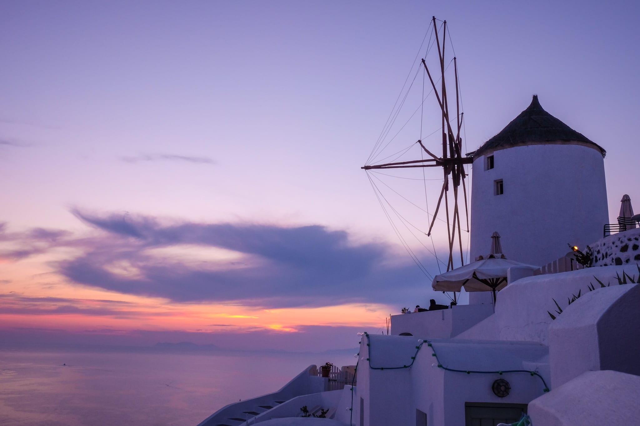 Santorini Sunset Windmill