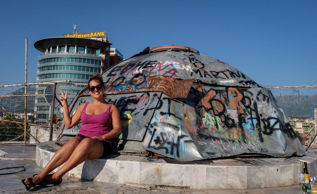 Kate at the Pyramid, Tirana Albania