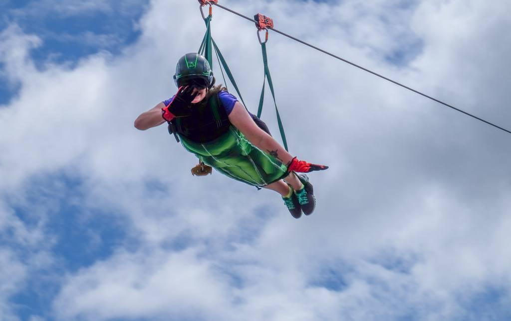 Amanda Ziplining in Puerto Rico