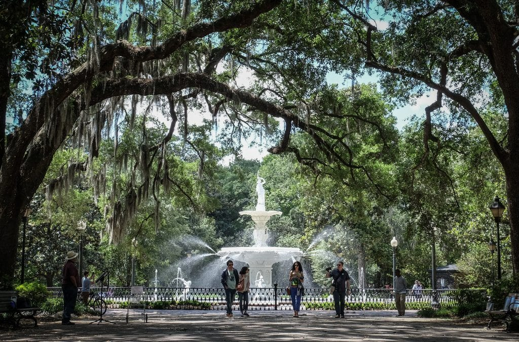 The fountain in Forsyth Park, Savannah, surrounded by oak trees
