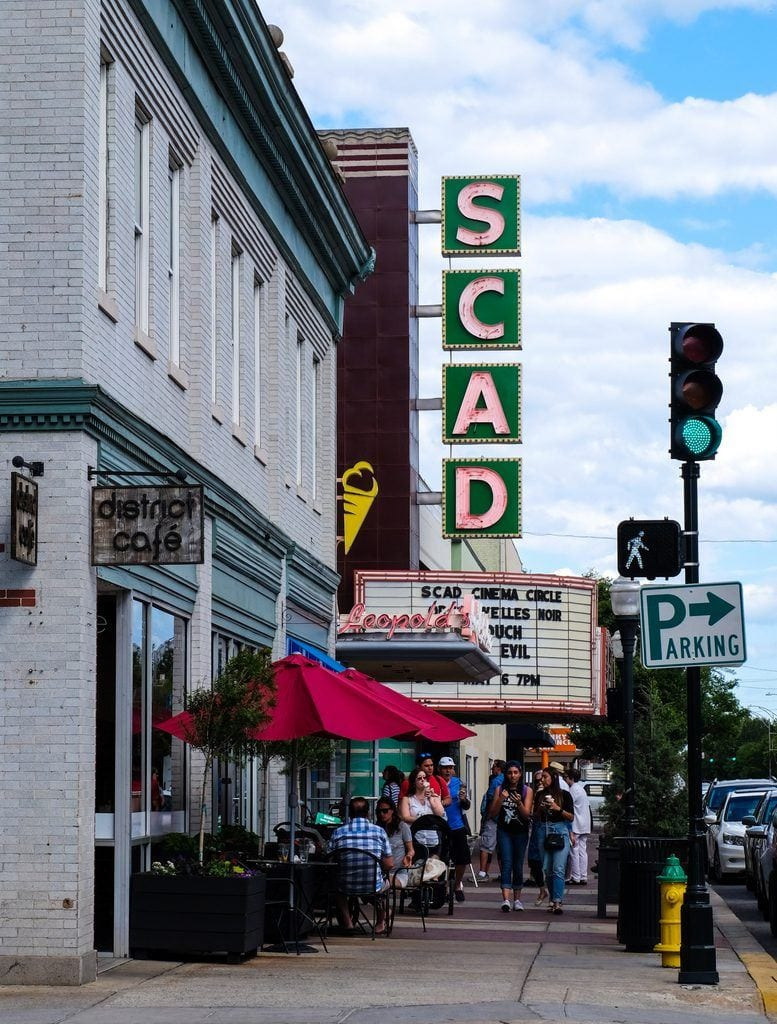 Savannah's main theater on the street, with big letters reading SCAD