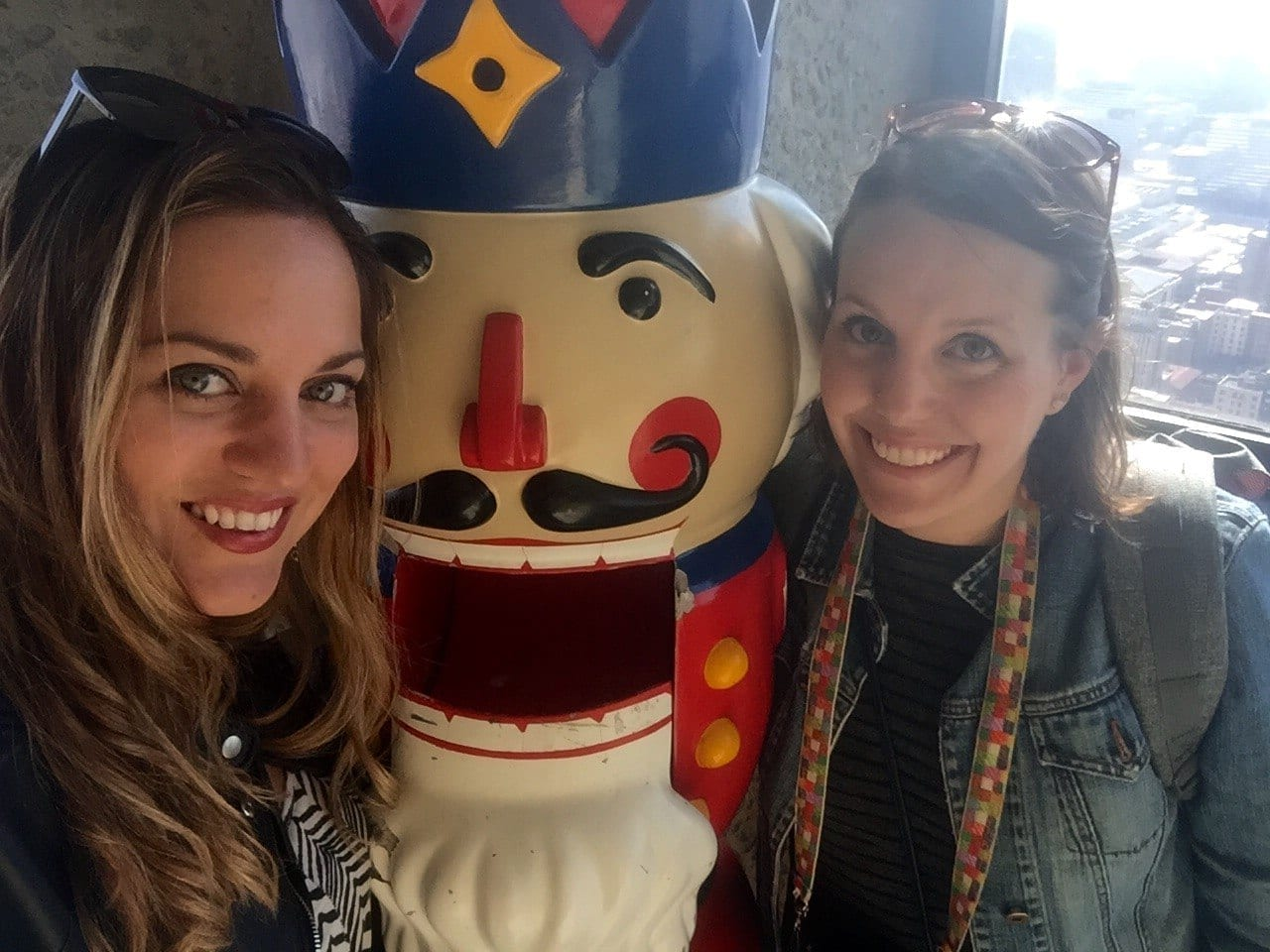 Kate and Beth with the Nutcracker in Johannesburg