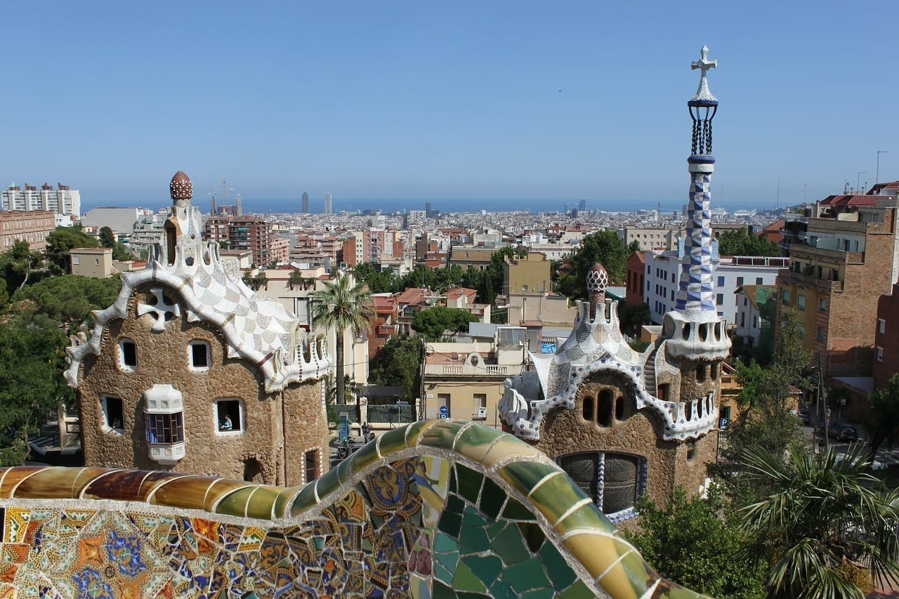 A view from the Parc Guell in Barcelona where Gaudi's strange, wavy sculptures and buildings look like somewhere trolls would live.