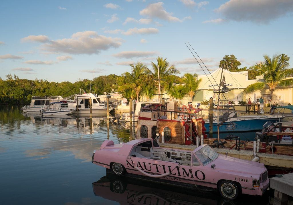 A bubblegum pink convertible in the water, like a boat, at a bar on the edge of the water.