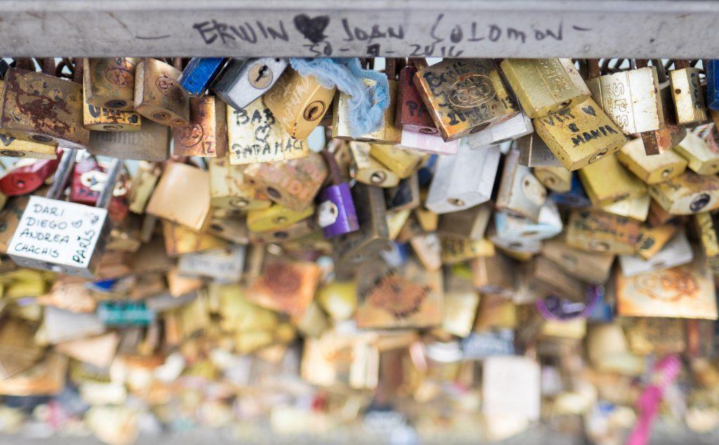 Love locks on the bridge in Paris.