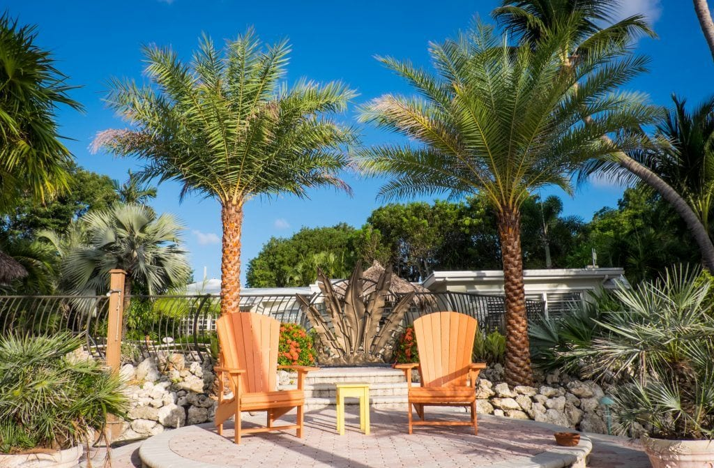 Two bright orange deck chairs in front of two short palm trees under a blue sky at the Kona Kai Resort in Key Largo