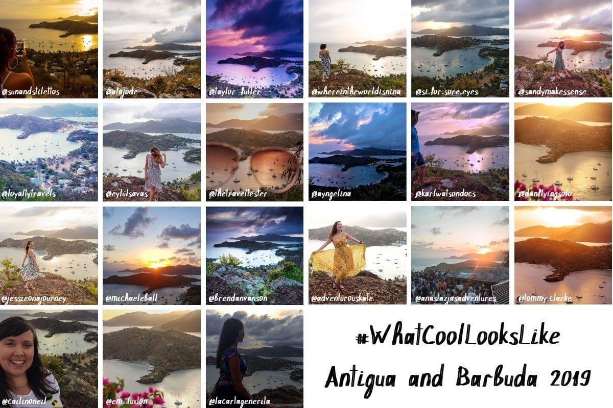 21 photos of different bloggers doing the same pose in front of a sunset at Shirley Heights, Antigua.