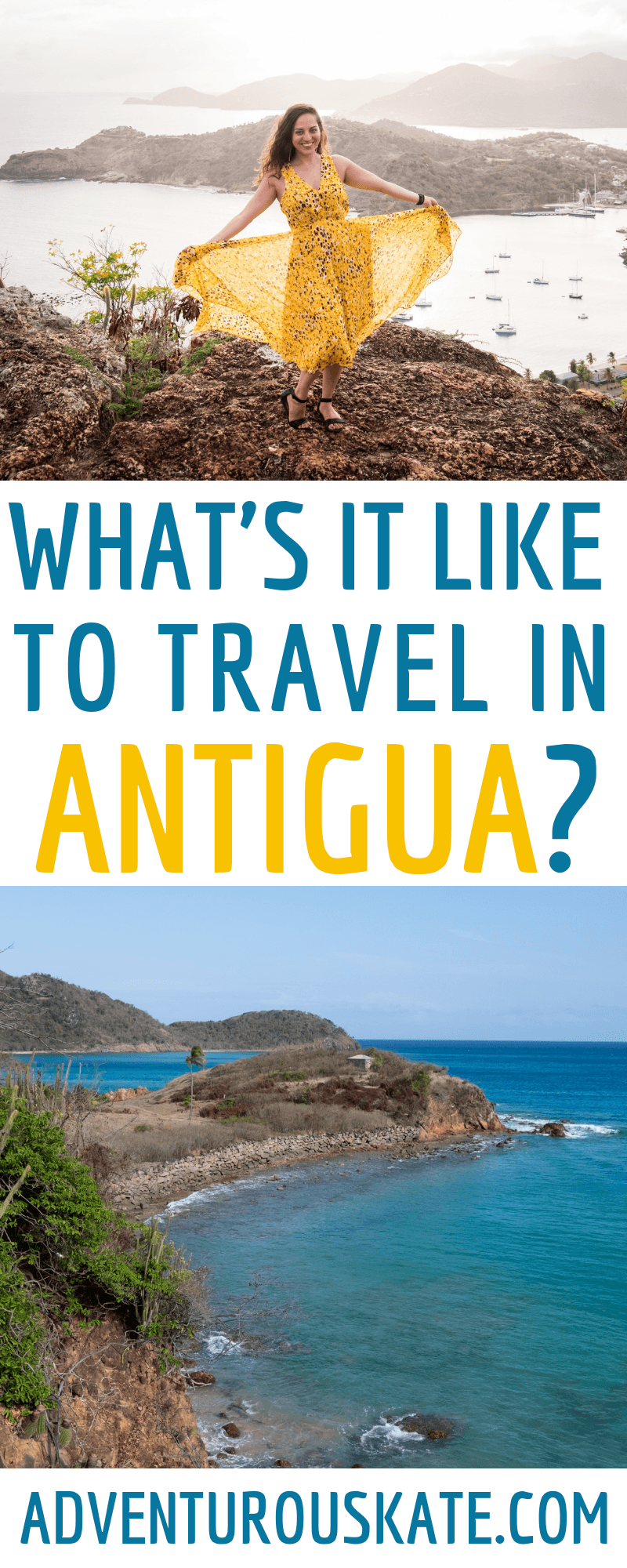Pinterest graphic: What it's like to travel Antigua and Barbuda?