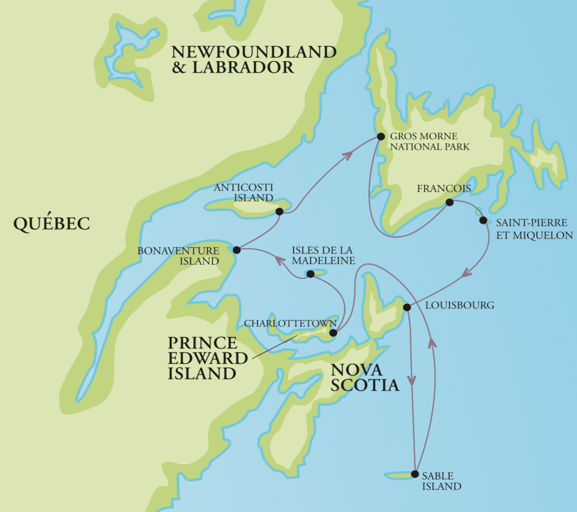 Map of Atlantic Canada with the OneOcean itinerary mapped out.